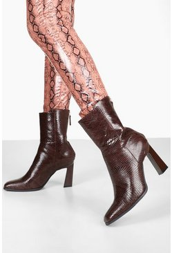 Brown Croc Interest Heel Zip Back Shoe Boots
