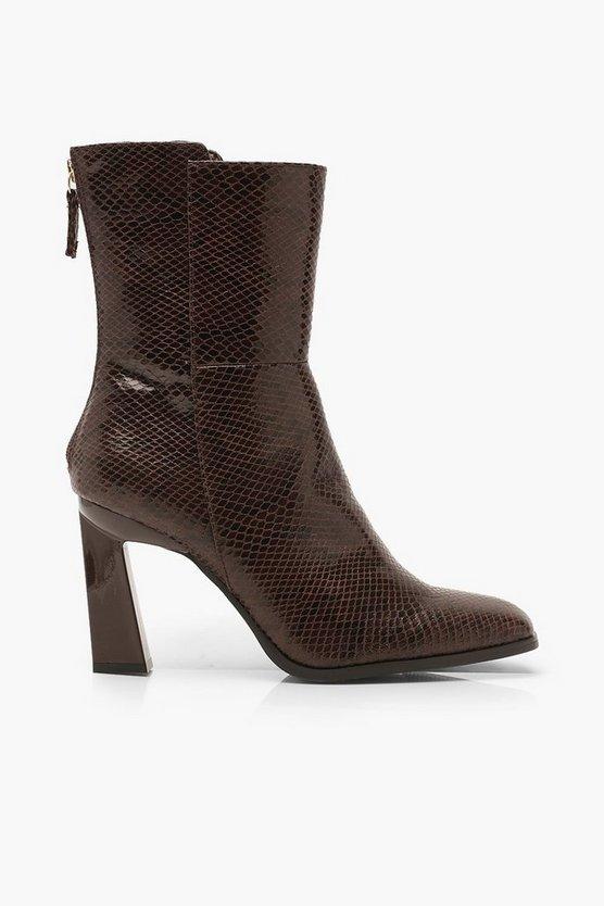 Croc Interest Heel Zip Back Shoe Boots