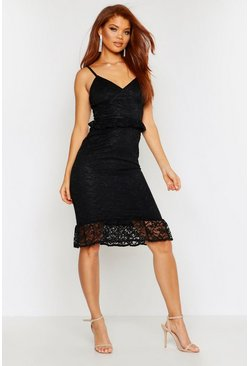 Black Strappy Lace Frill Hem Midi Dress