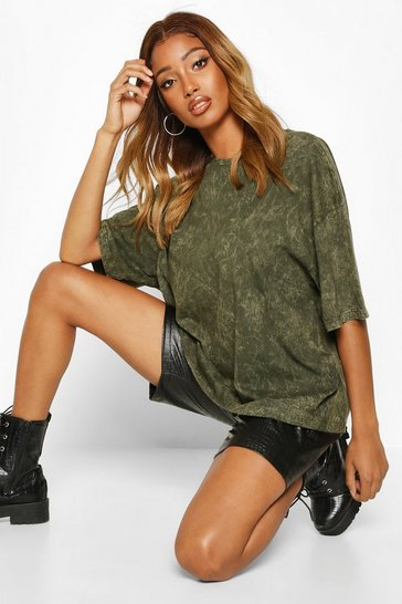 Khaki Oversized Acid Wash T-Shirt