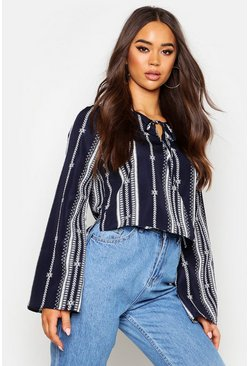 Navy Boho Wrap Front Blouse