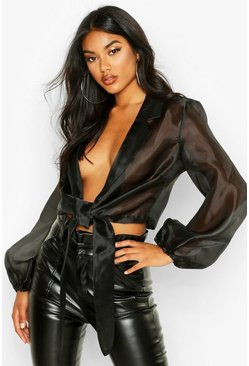 Womens Black Organza Tie Front Cropped Shirt
