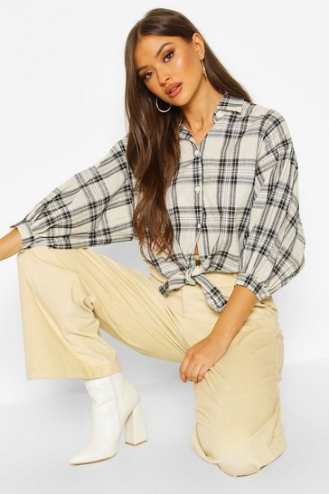 Womens Stone Woven Check Tie Front Shirt