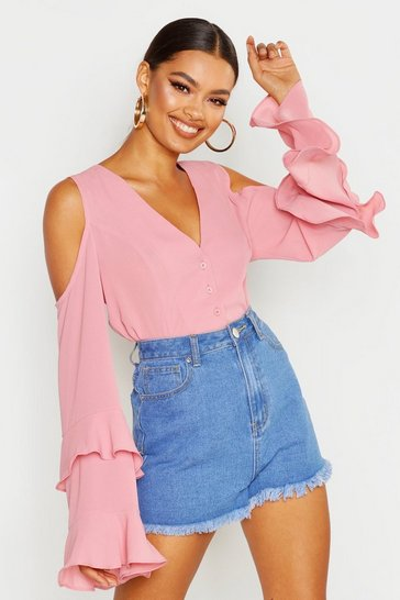 Dusky pink Cold Shoulder Flute Sleeve Blouse