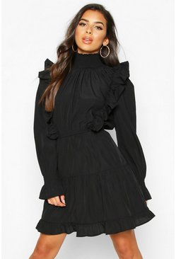 Black Shirred High Neck Ruffle Midi Skater Dress