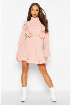 Blush Shirred High Neck Ruffle Midi Skater Dress