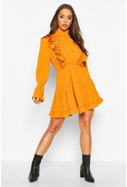 Mustard Shirred High Neck Ruffle Midi Skater Dress