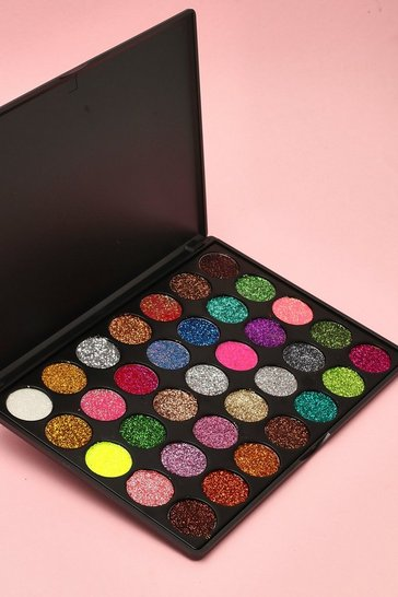 Multi Boohoo 35 Pan Glitter Eye Shadow Palette