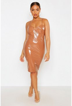 Caramel Bodice Detail Vinyl Dress