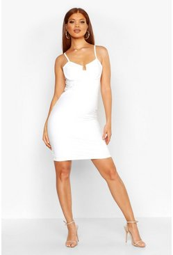 Womens White Bodice Detail Vinyl Dress