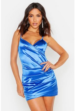 Cobalt Ruched Stretch Satin Mini Dress