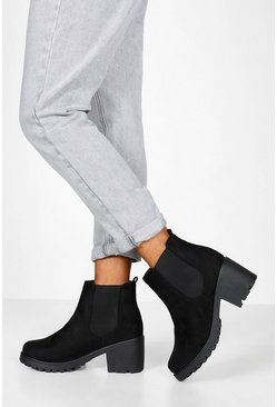 Dam Black Wide Fit Chunky Chelsea Boots