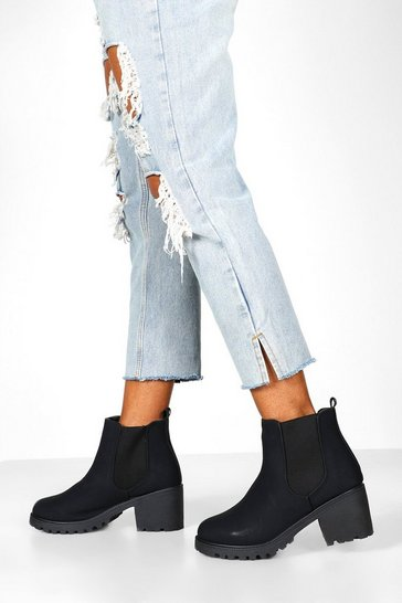 Black Wide Fit Chunky Elastic Chelsea Boots