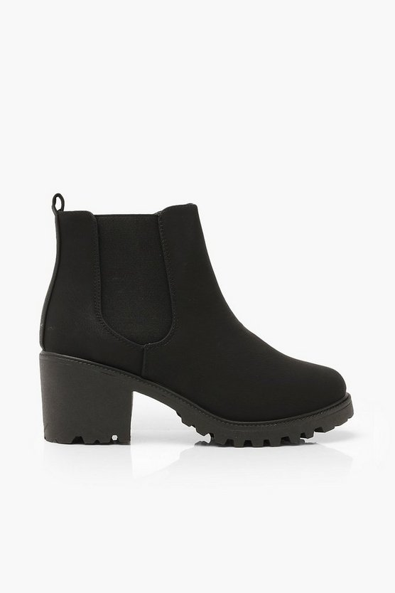 Wide Fit Chunky Elastic Chelsea Boots