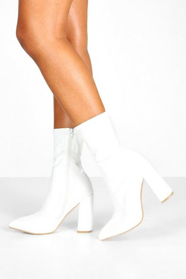 Womens White Wide Fit Block Heel Sock Boots
