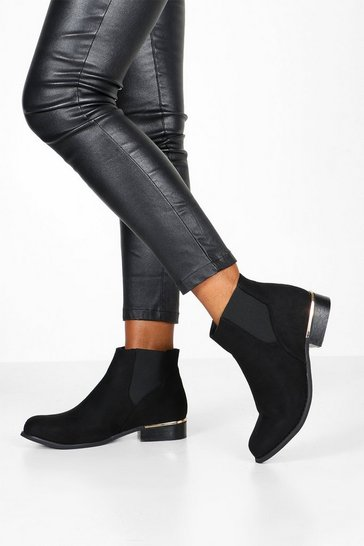Black Wide Fit Metal Trim Chelsea Boots