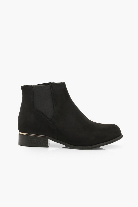 Wide Fit Metal Trim Chelsea Boots