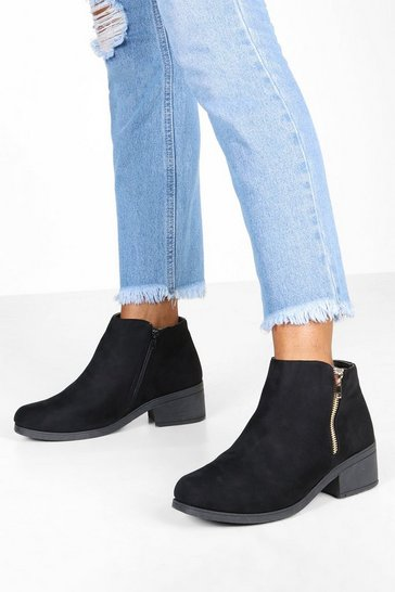 Womens Black Wide Fit Zip Side Chelsea Boots