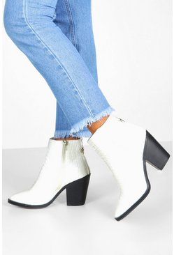 Womens White Wide Fit Croc Western Boots