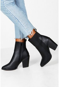 Womens Black Wide Fit Elastic Panel Western Boots