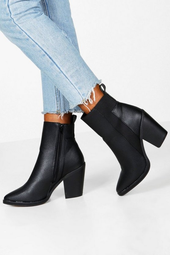 Wide Fit Elastic Panel Western Boots