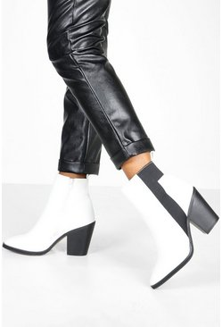 White Wide Fit Elastic Panel Western Boots