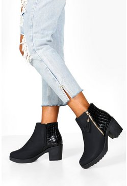 Black Wide Fit Zip Side Chelsea Boots