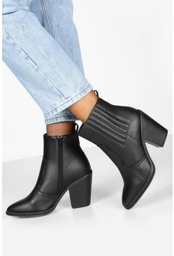 Dam Black Wide Fit Western Boots