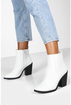 White Wide Fit Western Boots
