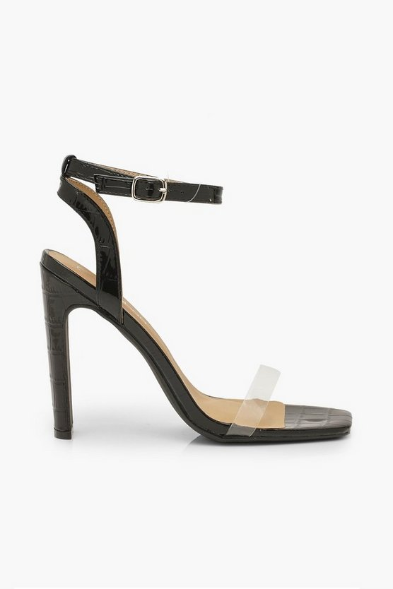 Wide Fit Clear Strap Square Toe Flat Heel 2 Parts