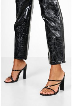 Black Wide Fit Croc Square Toe Strappy Mules
