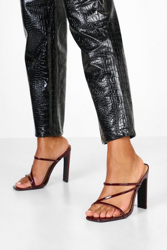 Wide Fit Croc Square Toe Strappy Mules by Boohoo
