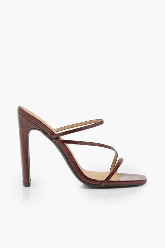 Wide Fit Croc Square Toe Strappy Mules