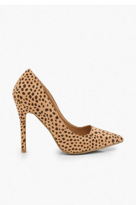 Wide Fit Cheetah Pointed Toe Stiletto Heel Courts