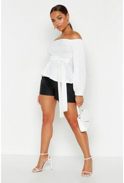 Womens White Bardot Tie Peplum Top