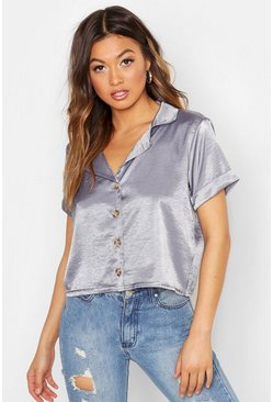 Womens Dark grey Hammered Satin Horn Button Shirt