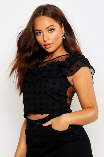 Womens Black Dobby Mesh Frill Layer Crop Top