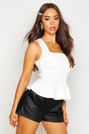 Womens White Crepe Square Neck Peplum Top