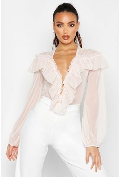 Womens Blush Mesh Ruffle Detail Bodysuit