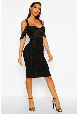 Womens Black Velvet Spot Cupped Midi Dress
