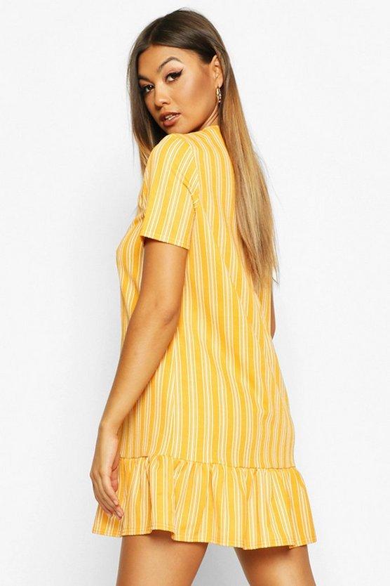Stripe Drop Hem Shift Dress