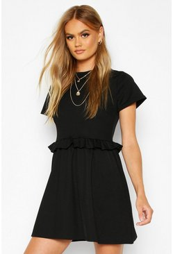 Womens Black Ruffle Front Smock Dress