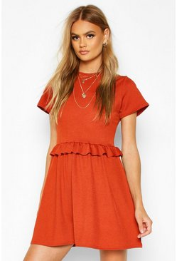 Terracotta Ruffle Front Smock Dress
