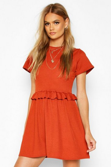 Womens Terracotta Ruffle Front Smock Dress