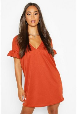 Womens Terracotta Ruffle V Neck Smock Dress