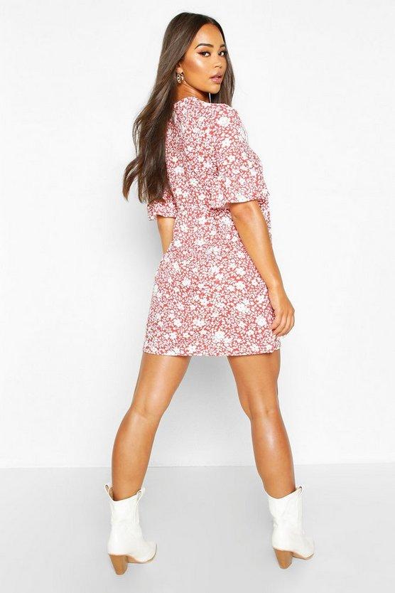 Floral Printed Ruffle Sleeve Smock Dress