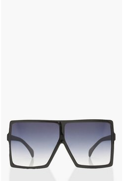 Womens Black Oversized Square Smoke Lens Sunglasses
