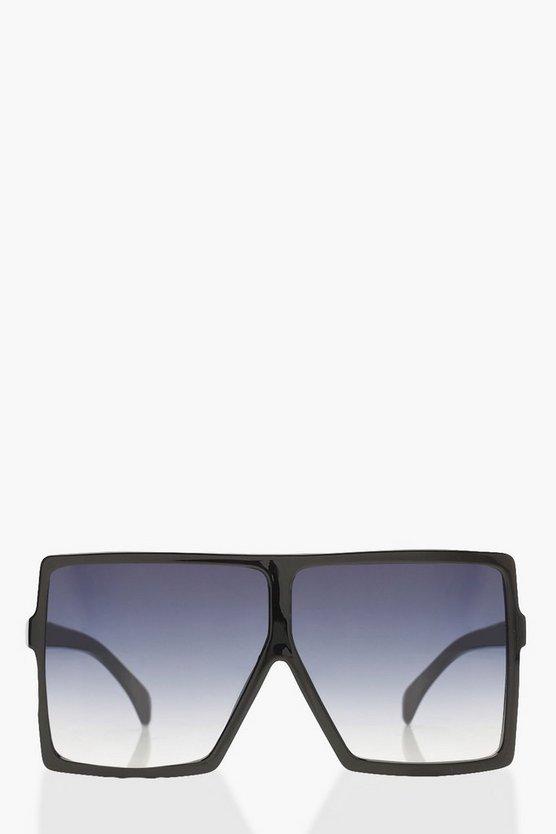 Oversized Square Smoke Lens Sunglasses by Boohoo