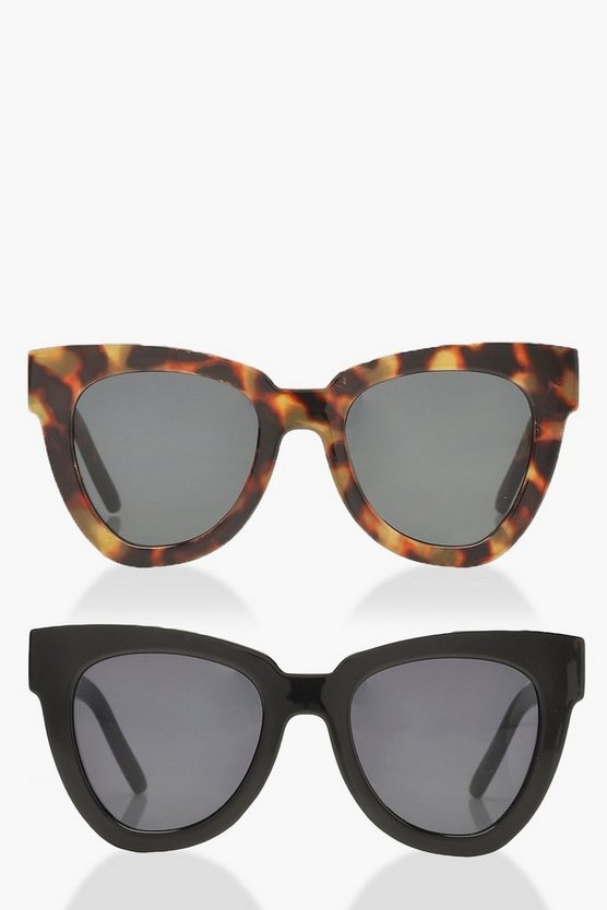 Chunky Oversized Frame Sunglasses 2 Pack
