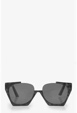 Dam Black Cut Out Oversized Square Sunglasses